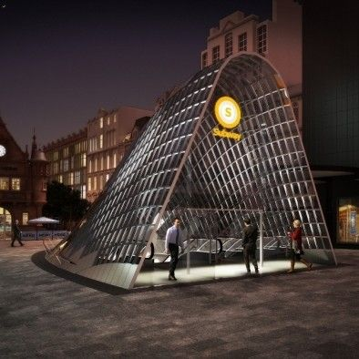 Work has commenced on the eye-catching new entrance canopies for St Enoch Subway Station which are set to transform St Enoch Square.