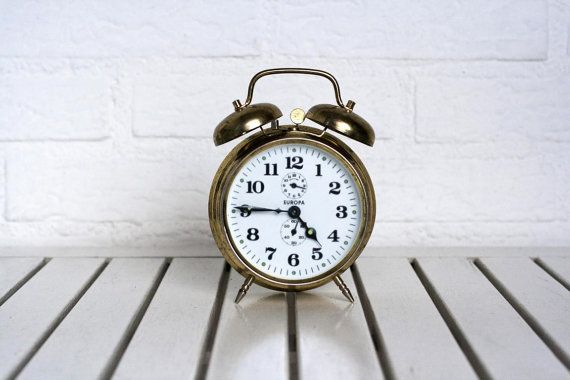 SALE Vintage German Traditional Alarm Clock with bells- White and Gold Europa