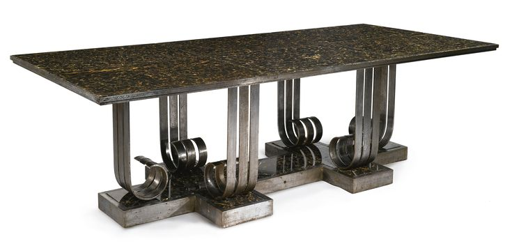 Attributed to Raymond Subes DINING TABLE wrought iron, metal and marble, circa 1930.