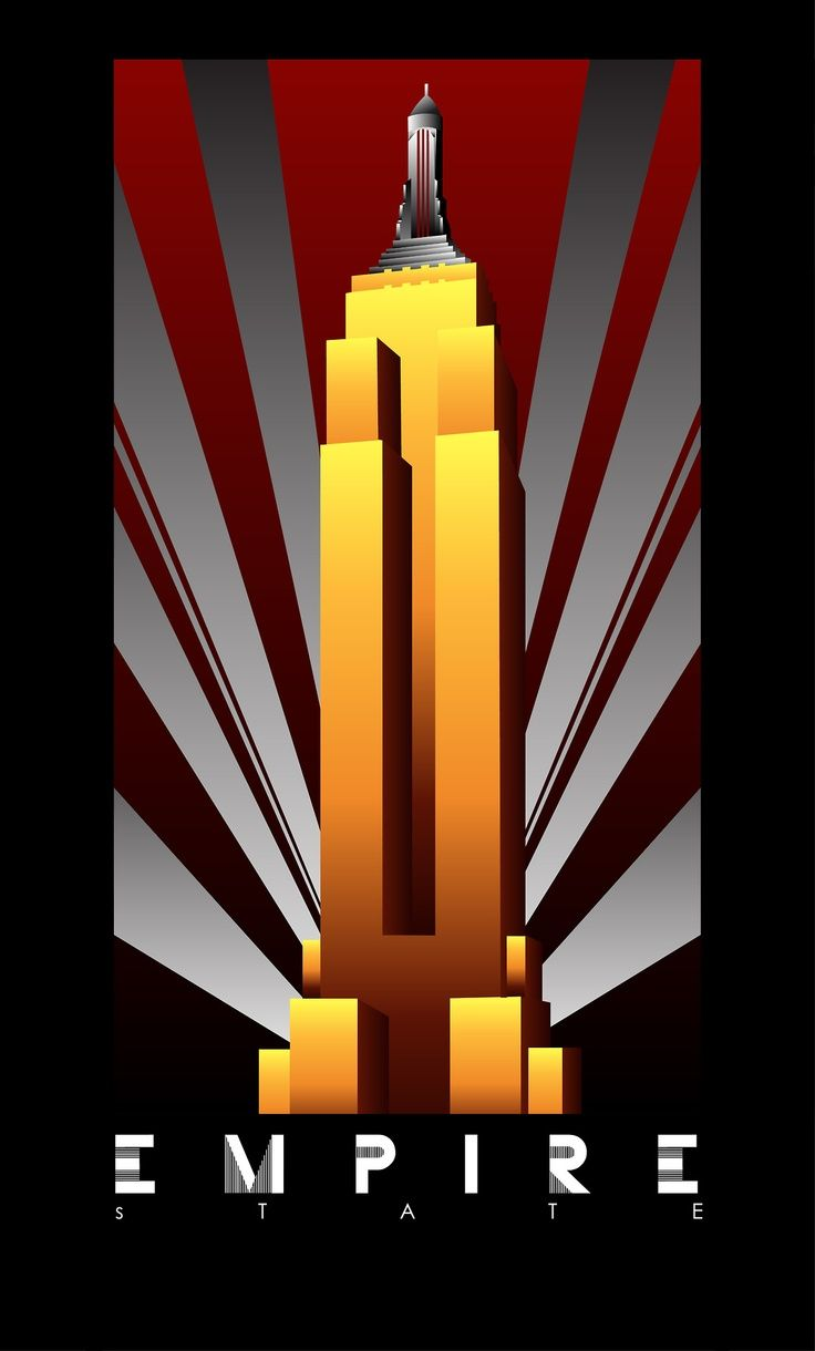 Empire State Building Art Deco Poster Art Deco Posters