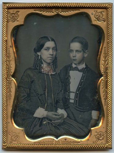 1/4 plate Daguerreotype of a well dressed young lady and boy in Collectibles, Photographic Images, Vintage & Antique (Pre-1940), Daguerreotypes | eBay