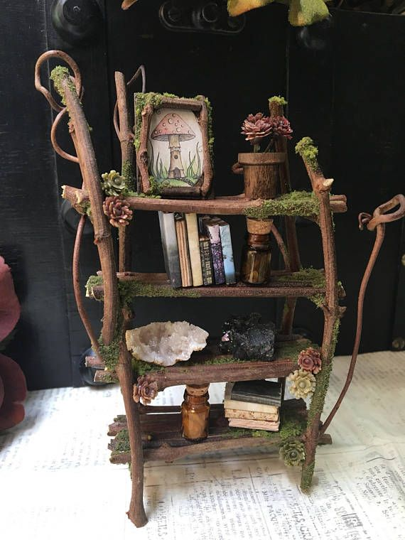 Faery Bookshelf 16 Piece Set With Crystals And Accessories Miniature Ooak Fairy Furniture Shelf Handmade By Thefaeryforest Fairy Furniture Fairy Crafts Fairy Garden Furniture