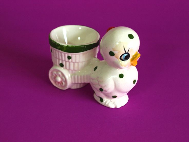 Vintage Chick and Cart Egg Cup - Mid Century Kitsch Cute Hen Polka Dot Basket Ceramics Ornaments Figurines - Made in Japan by FunkyKoala on Etsy