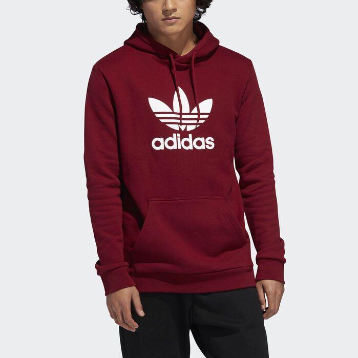 Trefoil Hoodie Burgundy Red XS,S,M,L,XL,2XL Mens | Adidas