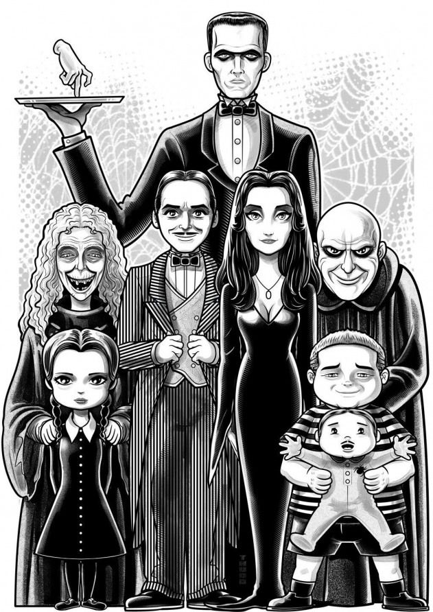 The Addams Family Themunsters The Munsters Artwork Family Drawing Family Cartoon Adams Family