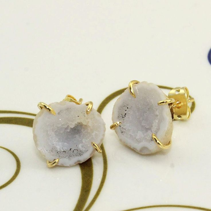 H2007 Halloween Sale Natural White Geode Druzy Gold Plated Stud Earring Jewelry #Handmade #Stud
