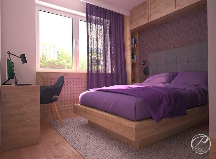 Kolor w mieszkaniu. Projektowanie mieszkań Warszawa. Sypialnia zdominowana przez kolor fioletowy. Dodatki derkoracyjne w kolorze fioletowym stanowią idealne uzupełnienie dla drewenianych elementów wykończeniowych.   | Progetti Architektura