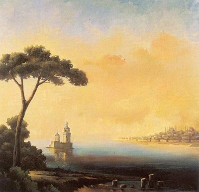 Artist of the day: Ismail Acar. Resimleri. I don't know much about this painter, but his use of yellow and blue is truly stunning, capturing the essence of a sunset in brushstrokes.