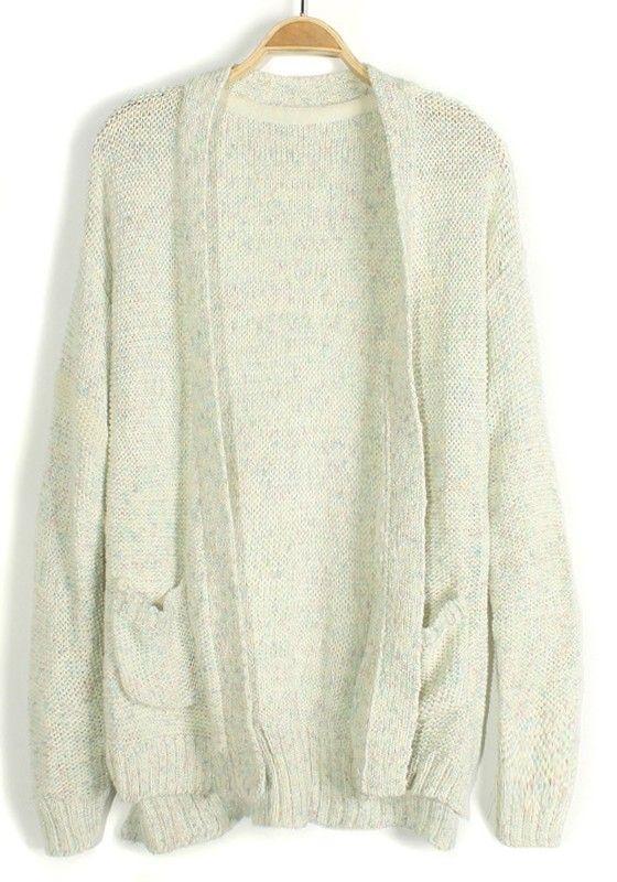 8c5b7c3fe667 White Spun Gold Pockets Knit Cardigan