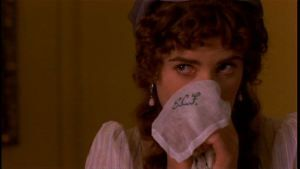 Lucy Steele (Imogen Stubbs) showing off her connections. - Sense and Sensibility (1995)