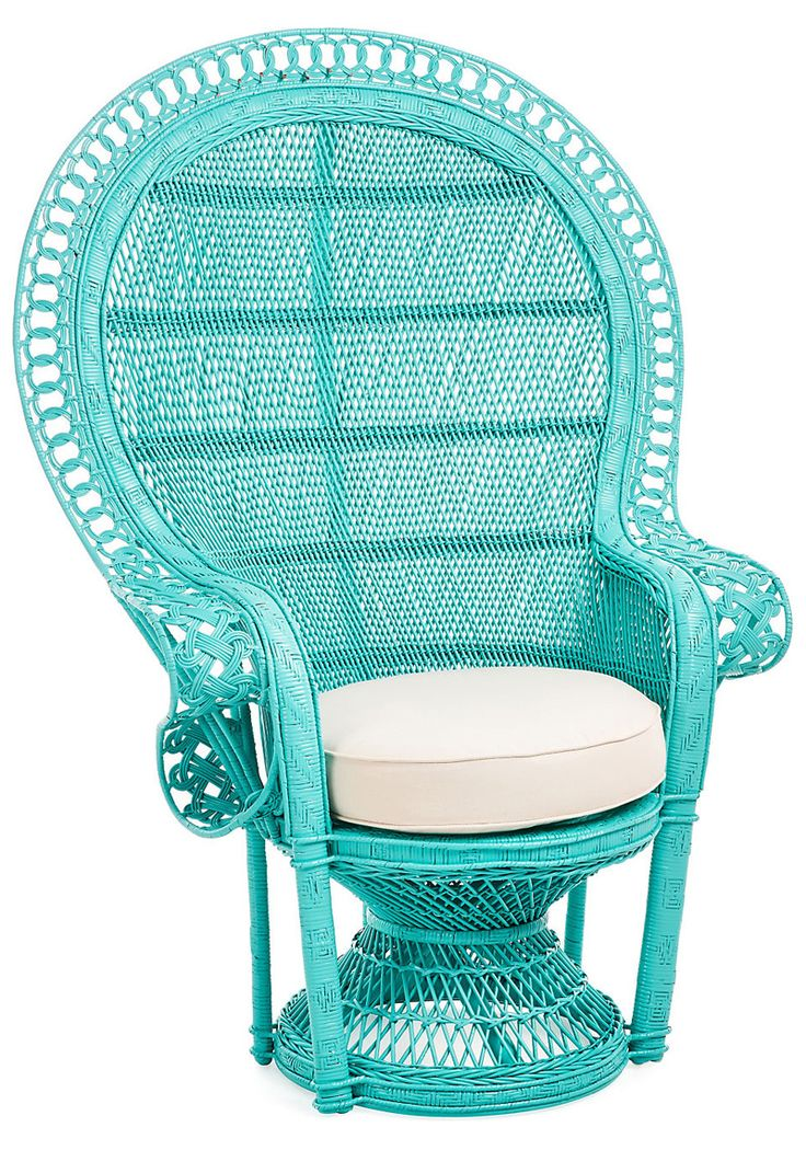 Turquoise Peacock Accent Chair  Turquoise  Turquoise
