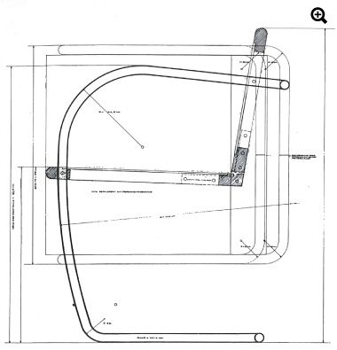 Mies Van Der Rohe Plan and section of Brno chair designed for dining area