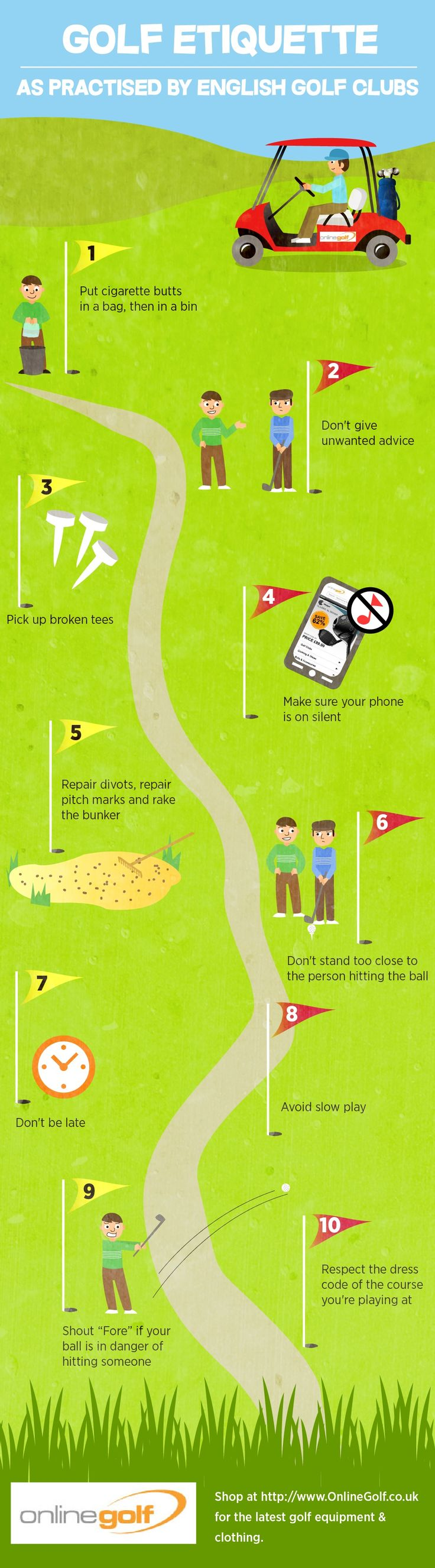 The Top 10 Tips On Good Golf Etiquette Infographic