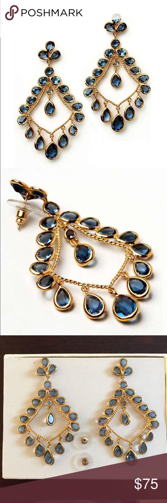 """Amrita Singh """"Victoria"""" Earrings - Sapphire blue New, in box Amrita Singh chandelier earrings. Amrita Singh Jewelry Earrings"""