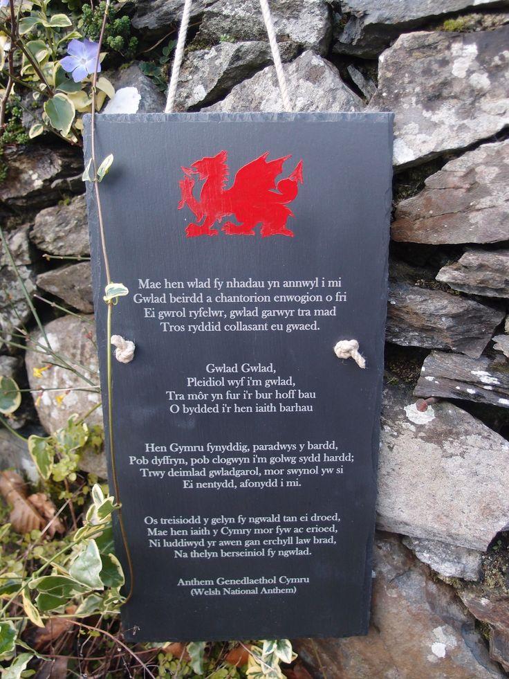 """Welsh National Anthem engraved on Welsh slate 9"""" x 18"""""""