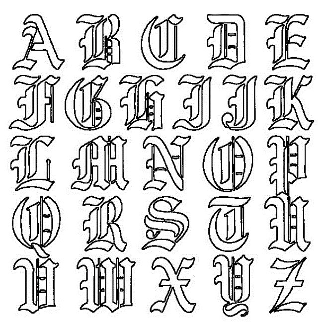 design around tattoo writing alphabet