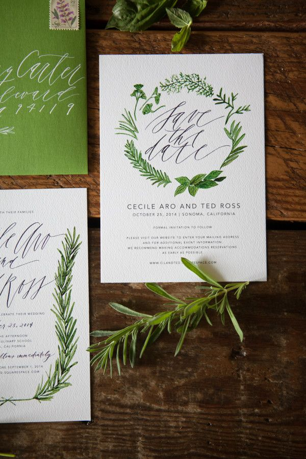 Written Word Calligraphy Design | Vancouver Calligrapher | Modern Romantic Wedding Calligraphy | Cecile Ted's Herb-Inspired Invitations | http://writtenwordcalligraphy.com