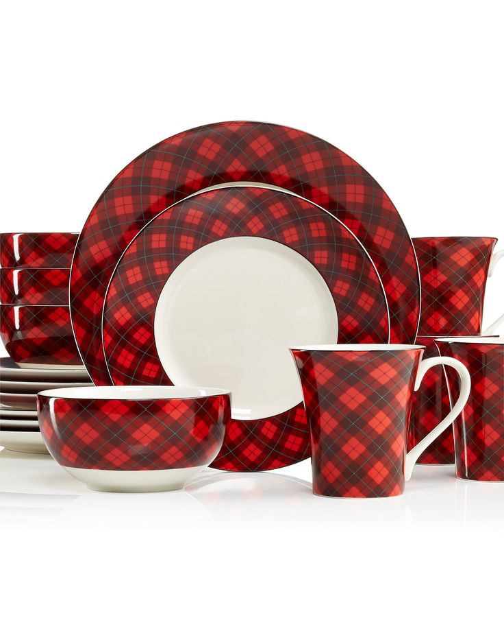 222 Fifth Christmas Plaid 16 Piece Dinnerware Set Holiday Dining Sale Din