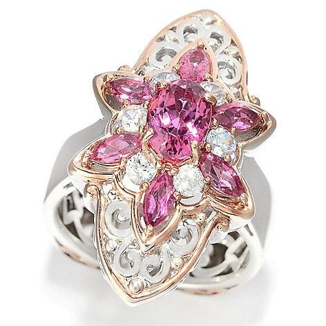 151-120 - Gems en Vogue 1.46ctw Pink Tourmaline & White Zircon Shield Ring