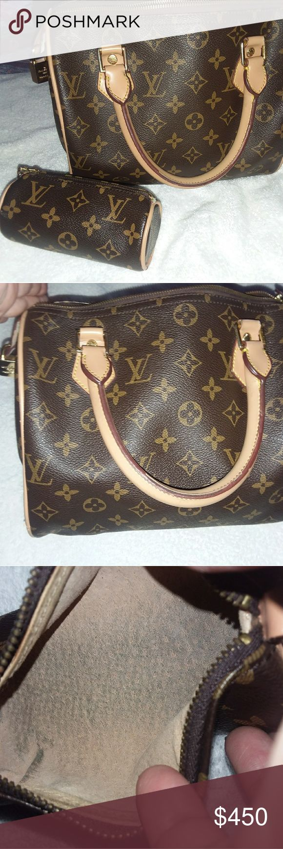 Louis vuitton purse and make up bag Used some wear see pics inside bag has make up spot price reflects. Louis Vuitton Bags Satchels