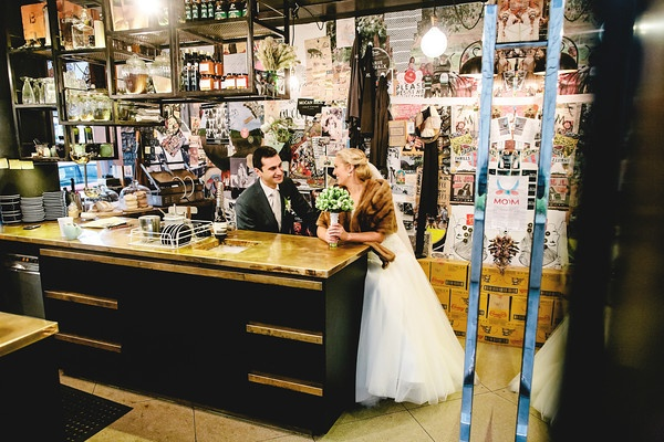 Just chillin on our wedding day in a little Canberra cafe (Mocan and Green) in New Acton. Photography by David Robertson