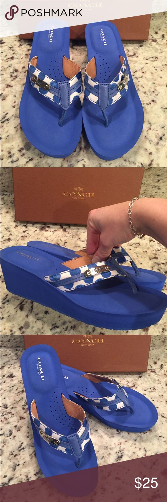 NWOT Coach Polka Dot flip flops !! Coach flip flops ! Brand NWOT in box ! Blue and white wedge sandal . Size 8.5 . I'm open to reasonable offers! Coach Shoes Sandals