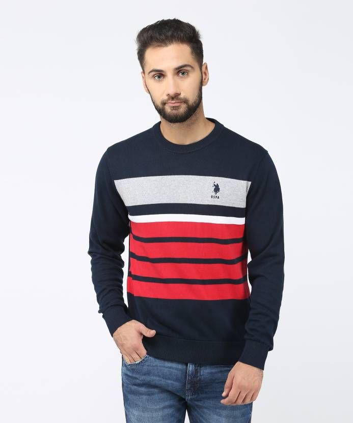 9f16b9a0c4e U.S. Polo Assn Striped Round Neck Casual Men's Blue Sweater | MALE ...