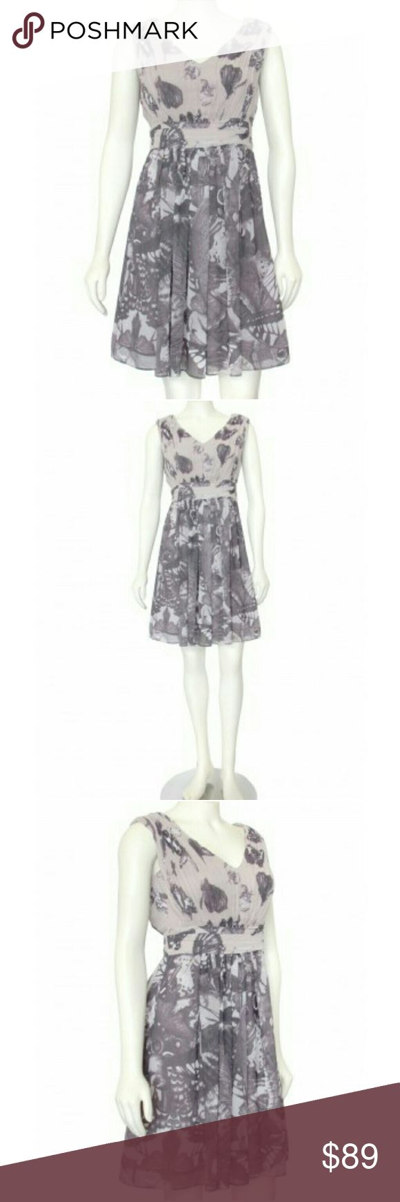 "Ted Baker Yamka Butterfly Dress Designer: Ted Baker. Ted Size: 1 / 4 US. Print / Color: Mauve Purple Multi. Material: 100% Polyester. Lining: 100% Polyester. Fully Lined. Hidden Side Zip. New without Tags. Machine Wash Cold. Imported.   Measurements:	16"" Armpit to Armpit, ~25"" Waist, ~34-38"" Hips, ~27.5"" Length from Armpit, 34.5"" Length from Shoulder.   💖 Insta Chic Party Ted Baker London Dresses"