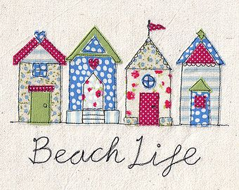 A4 Print of machine free motion embroidery and appliqué illustration of a pretty row of beach huts in red, green and blue. 'Beach Life'