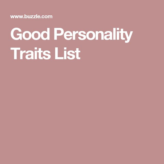 Good Personality Traits List