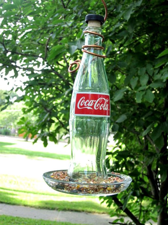 Coca Cola Bird Feeder Recycled Coke Bottle Bird by GlassGaloreGal, $15.00