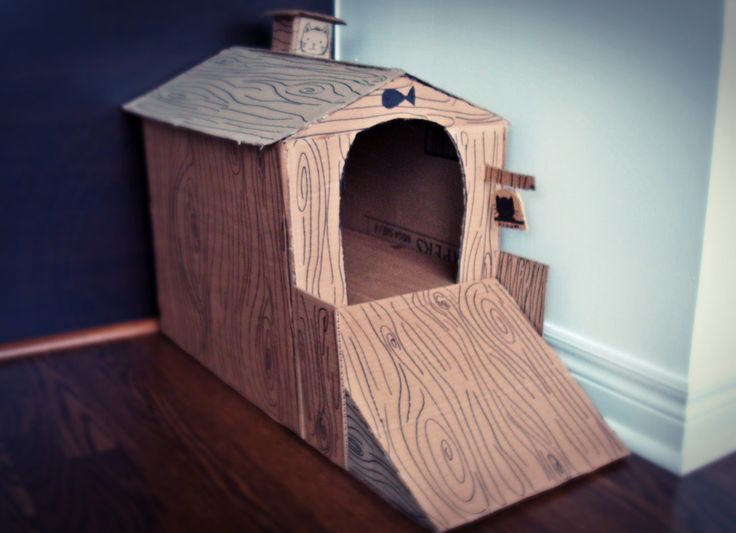 Diy Cardboard Cat Houses | Starving Creative Blog: DIY    Cardboard Cat  House
