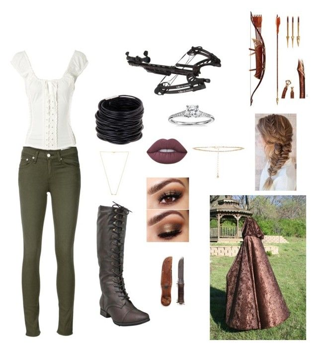 """pdc hunting outfit "" by jocelynpm on Polyvore featuring rag & bone/JEAN, Saachi, Blue Nile, Lime Crime, New Look, Wanderlust + Co and Waterman"