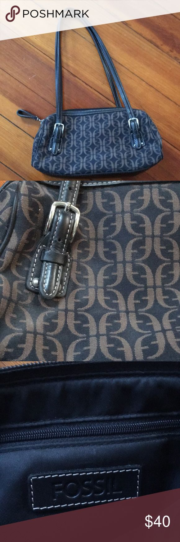 """Fossil Bag Brown and black bag with adjustable straps. Great condition, only used a couple of times. No tips or tears and inside lining looks unused. 10"""" across, 6"""" tall, and 3-4"""" wide. Fossil Bags"""