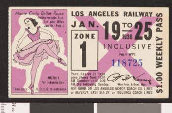 Los Angeles Railway weekly pass, 1936-01-19 :: LA as Subject