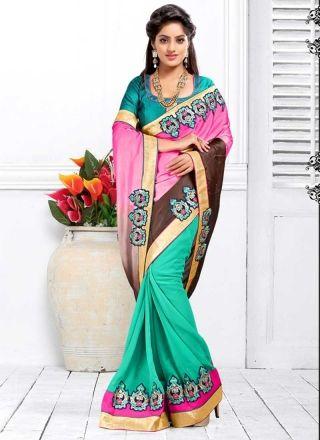 Deepika Singh Turquoise And Pink Satin Georgette Padding Half N Half Saree