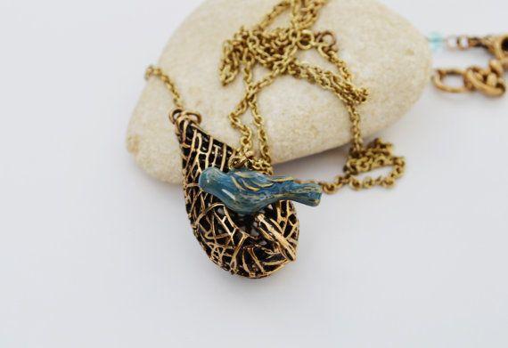 CLEARANCE SALE  Blue Bird Nest Necklace by EllaHandmadeUnuque