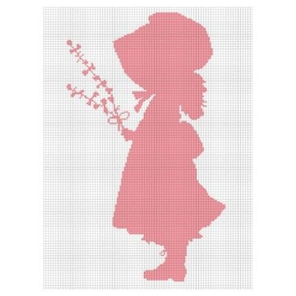 HOLLY HOBBIE PINK SILHOUETTE CROCHET AFGHAN QUALITY PATTERN GRAPH CROSS STITCH KNIT .PDF EMAILED | CozyConcepts - Patterns on ArtFire