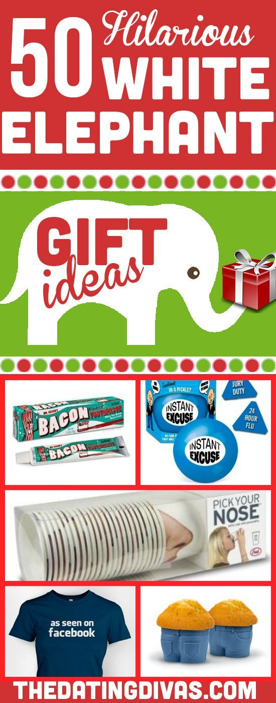 OMGosh! Hilarious White Elephant ideas GALORE! I need this next week! www.TheDatingDiva... #whiteelephant #hilariousgiftideas #diywhiteelephant