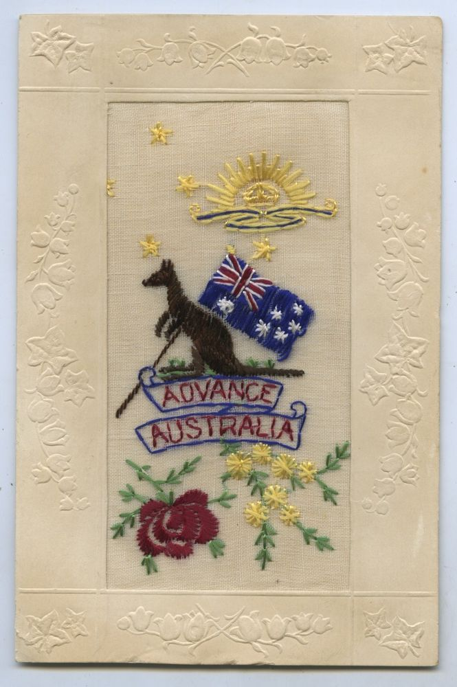 1917 EMBROIDERED SILK POSTCARD ADVANCE AUSTRALIA A A WEIR MM SIGNAL COMPANY AIF