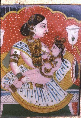 Krishna Suckles Milk - Traditional Painting
