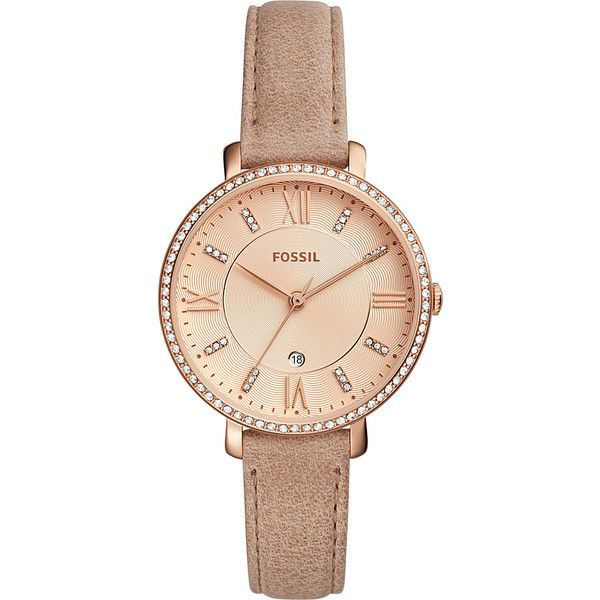Fossil Jacqueline Three-Hand Date Leather Watch - Beige(Beige) -... ($135) ❤ liked on Polyvore featuring jewelry, watches, tan, leather jewelry, buckle watches, fossil watches, buckle jewelry and fossil jewelry