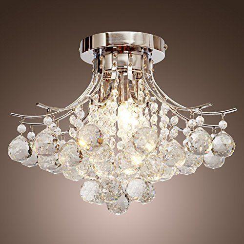 K9 Crystal Raindrop Chandelier Lighting Flush Mount Led Ceiling