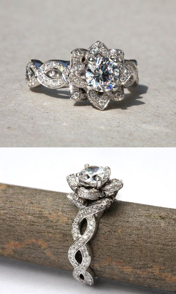 EVER BLOOMING LOVE - 1.00 carat Diamond Engagement Flower Ring - Setting Semi mount only - Infinity - Gorgeous Unique Rose - Lotus - fL06