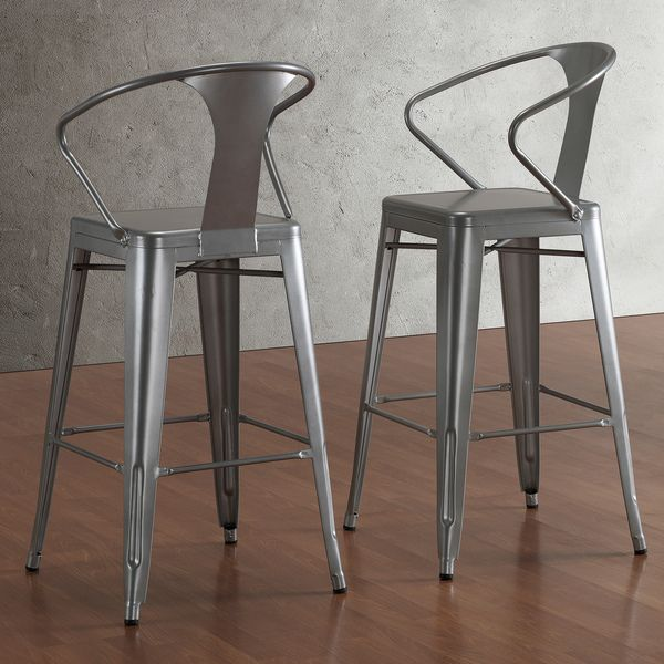 Tabouret Silver with Back 30-inch Bar Stools (Set of 2) | Overstock.com Shopping - The Best Deals on Bar Stools