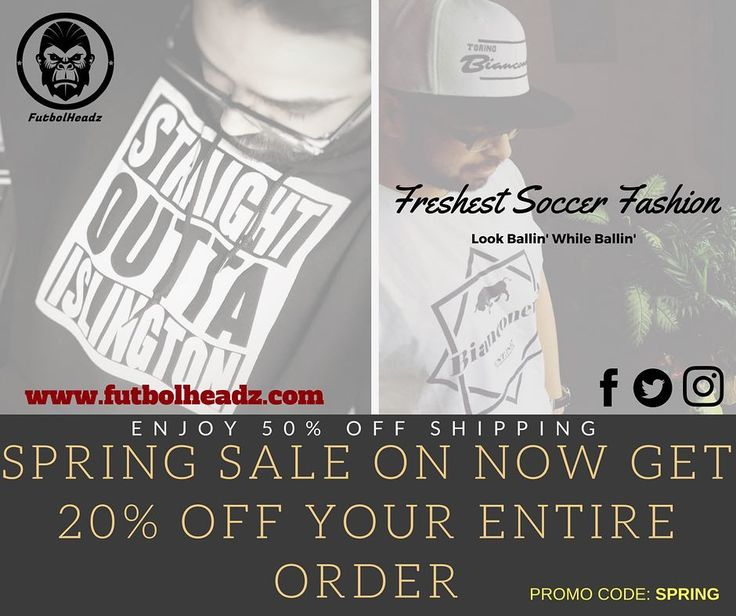 SPRING SALE!!! Get in! 50% off shipping and free shipping on 2 items or more and now enjoy 20% your order! #tfc #tottenham #halamadrid #realmadrid #barcelona #arsenal #tshirt #tshirts #snapbacks #snapback #beanies #manchestercity #manchesterunited #spurs #clothingbrand #chelsea #clothing