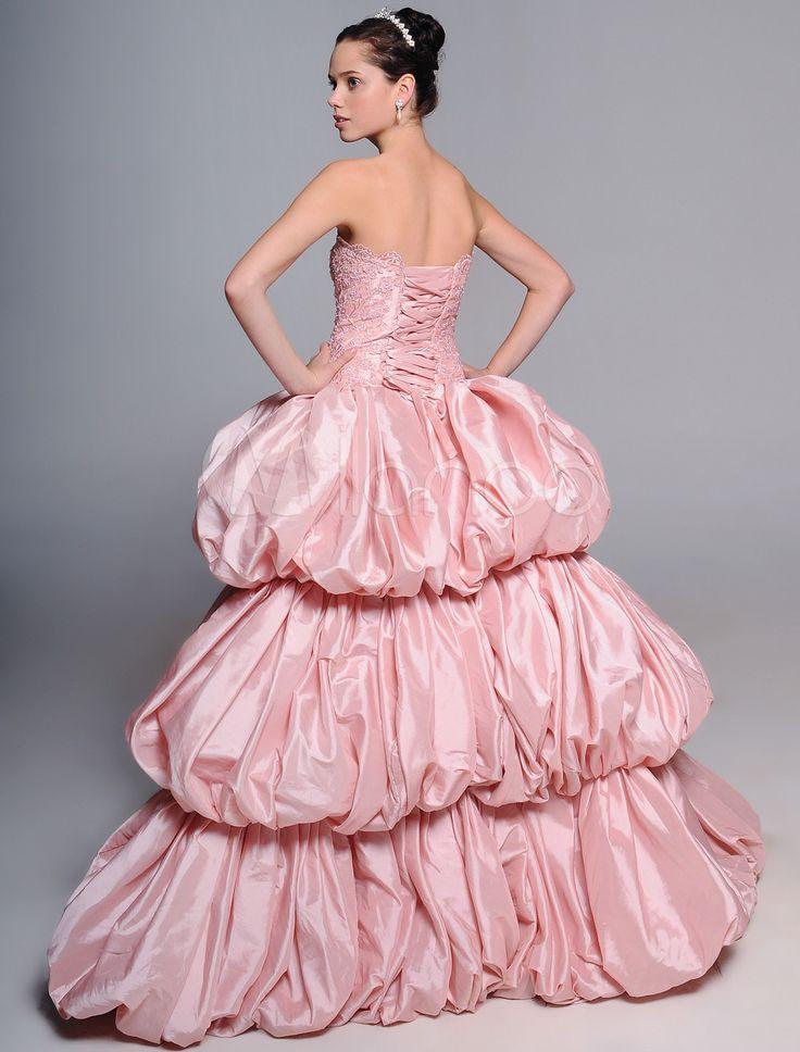 Свадебное платье бальное без бретелек со шлейфом из тафты с бусинами