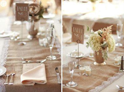 Decoraciones para bodas con tela de yute o arpillera - Manteles shabby chic ...