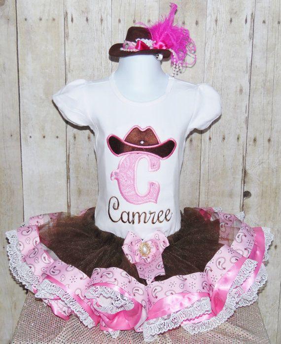 Cowgirl intiail ribbon trim tutu set ribbon trim by MommaMays