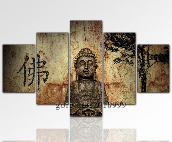Modern Abstract Art Wall Decor- Oil Painting-Buddha 5 pieces- $69.99 @thefloralgallery on Etsy